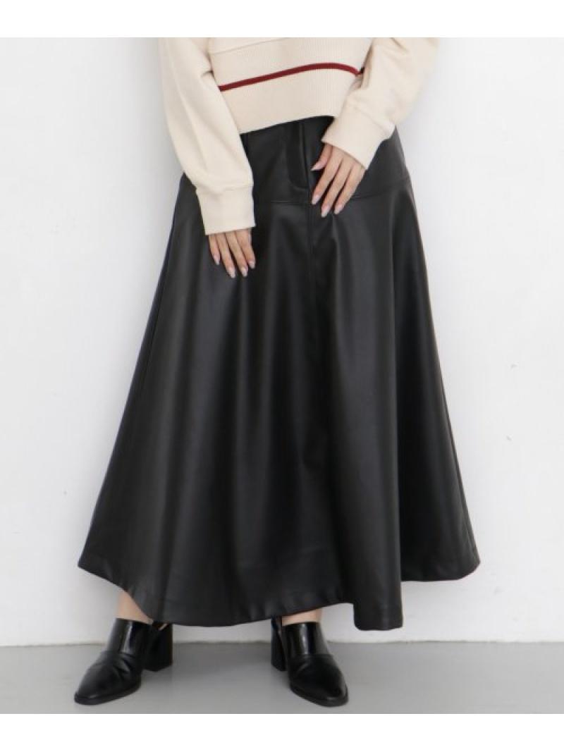 [Rakuten Fashion]フェイクレザーフレアスカート KBF ケービーエフ スカート スカートその他 ブラック ベージュ【送料無料】