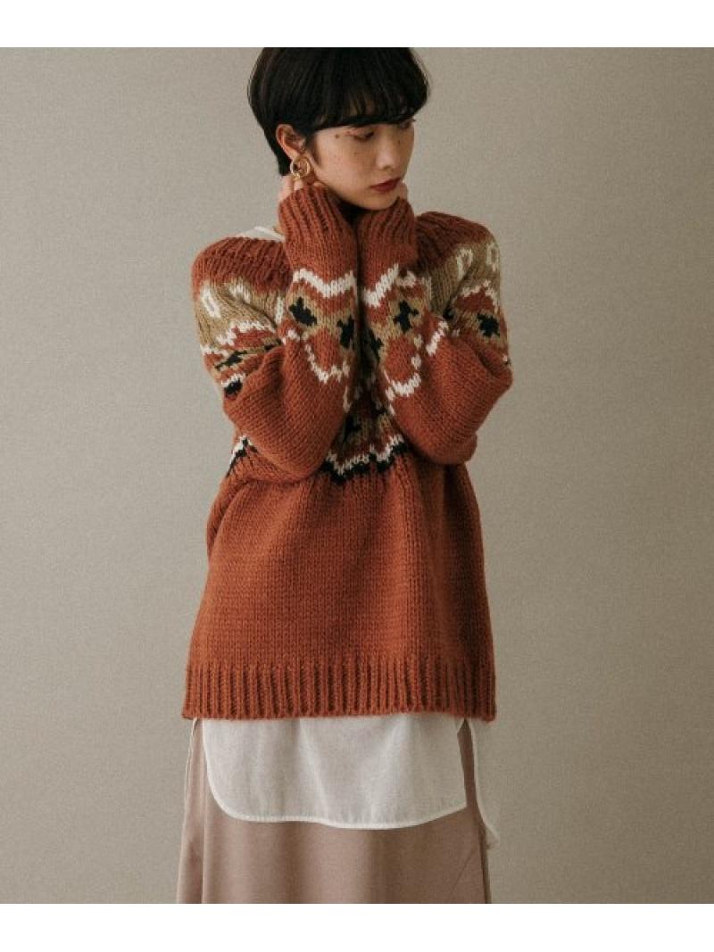 [Rakuten Fashion]WEB限定フェアアイルニット KBF ケービーエフ ニット ニットその他 ブラウン ホワイト【送料無料】