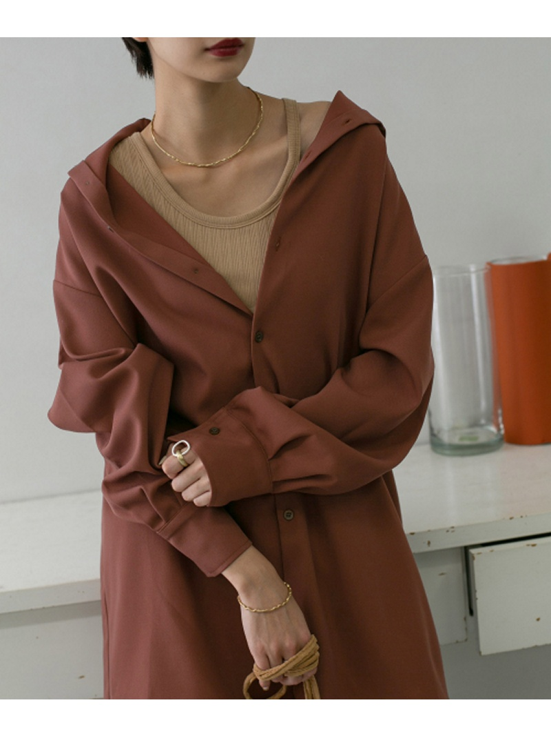 [Rakuten Fashion]2WAYハイネックロングシャツ KBF ケービーエフ シャツ/ブラウス シャツ/ブラウスその他 ブラウン ホワイト ブラック【送料無料】