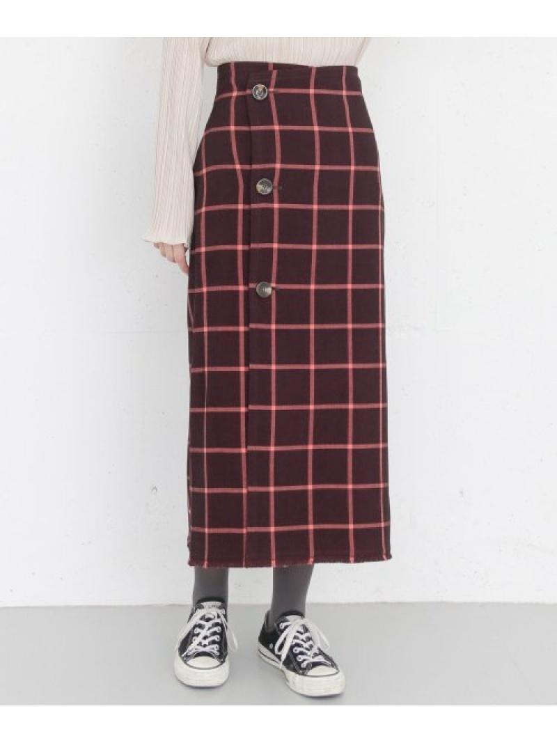 [Rakuten Fashion]KBF+リバーシブルチェックスカート KBF ケービーエフ スカート スカートその他 レッド ブラウン グレー【送料無料】