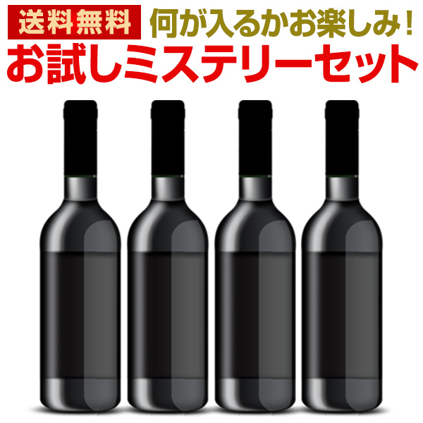 何が入るかはお楽しみ!まさにミステリー! ワインセット【送料無料】当店厳選!お試しワインが4本入ります!ミステリーワインセット!お1人様1セットまで【他商品との同梱可 一部訳あり品が入ることもございます】飲み比べ 詰め合わせ
