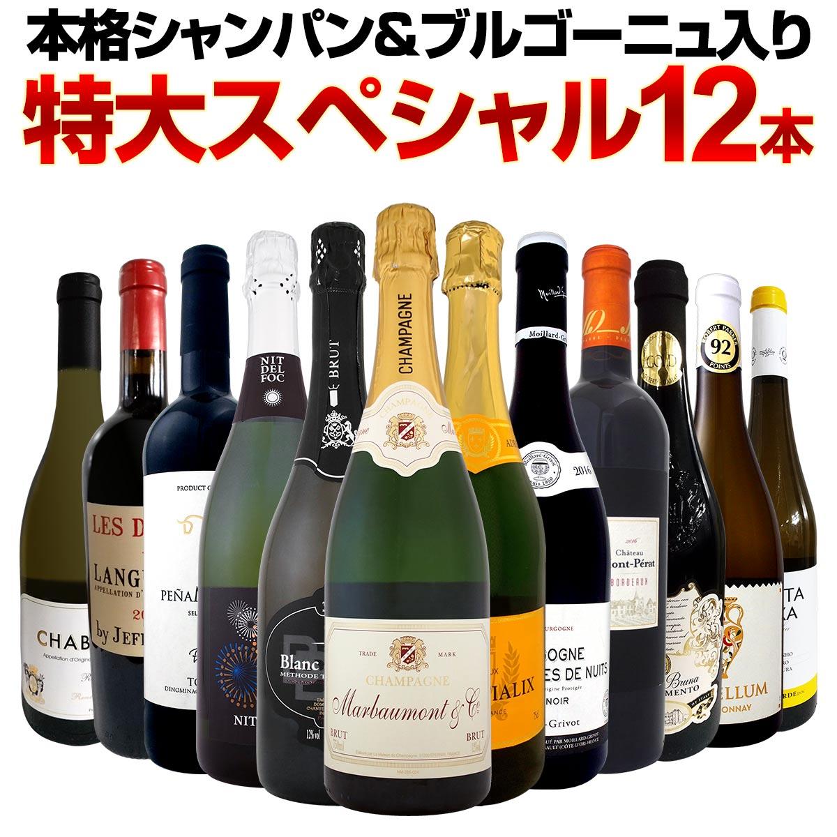 【送料無料】第3弾!本格シャンパン&ブルゴーニュ入り!特大スペシャル12本セット! ワイン ワインセット セット 赤ワインセット 赤ワイン 白ワインセット 白ワイン スパークリングワインセット 飲み比べ ギフト プレゼント 辛口 750ml