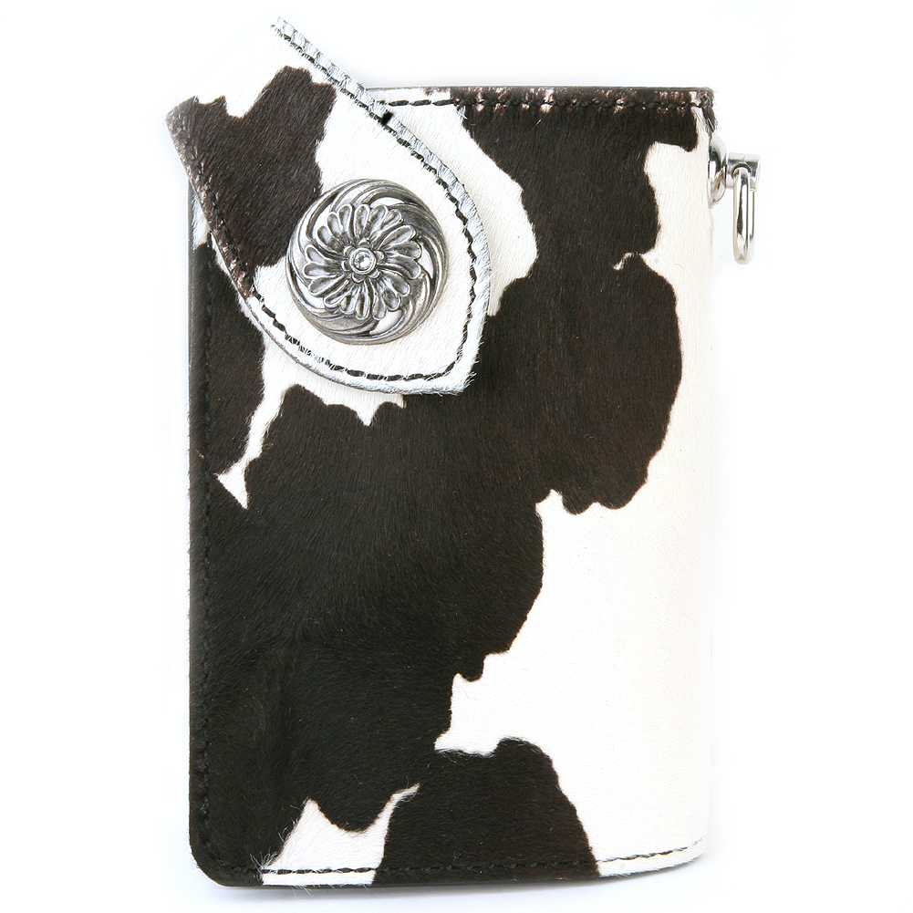 財布 メンズ 二つ折り 革 レザー ミドルウォレット KC,s kcs ケーシーズ ケイシイズ: リオグランデ カーフヘアー ロングビルフォールド【ブラック・ホワイト】