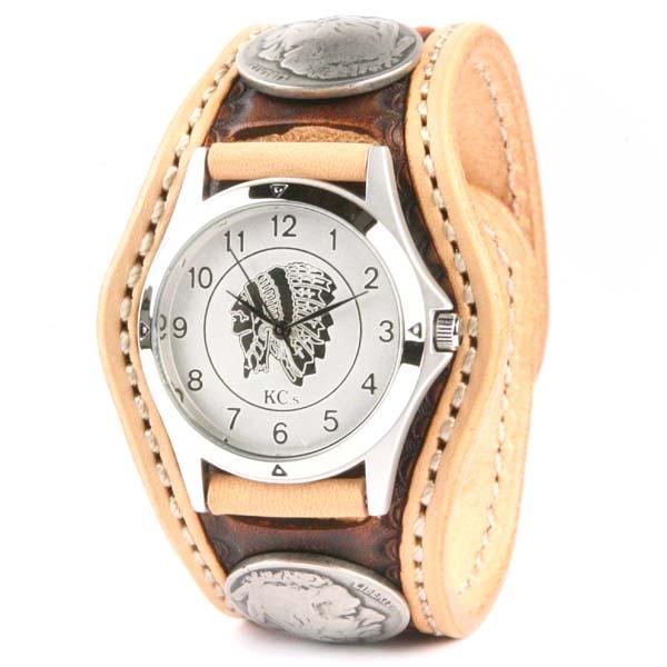 腕時計 メンズ 革 レザー KC,s kcs ケーシーズ ケイシイズ: レザーブレスウォッチ 3コンチョ クラフトDX【タン】