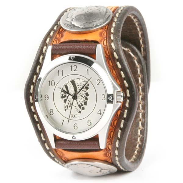 腕時計 メンズ 革 レザー KC,s kcs ケーシーズ ケイシイズ: レザーブレスウォッチ 3コンチョ クラフトDX【ブラウン】