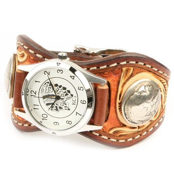 カービング 腕時計 メンズ 革 レザー KC,s kcs ケーシーズ ケイシイズ : レザーブレスウォッチ エスパニョーラ クラフトDX【ブラウン】