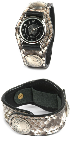 Watch men's snake leather leather leather KC, s ケイシイズ: resabreswatch 3 Concho