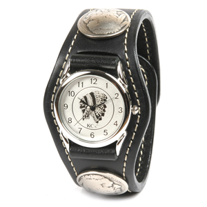 腕時計 メンズ 馬革 レザー KC,s kcs ケーシーズ ケイシイズ: レザーブレスウォッチ 3コンチョ コードバン【ブラック】