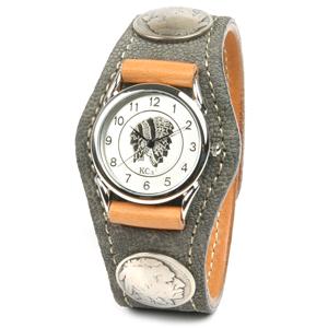 KC,s kcs ケーシーズ ケイシイズ 腕時計 メンズ レディース 象革 革 レザー: レザーブレスウォッチ 3コンチョ エレファント【グレー】