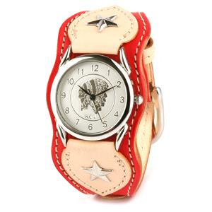 KC,s kcs ケーシーズ ケイシイズ 腕時計 メンズ 革 レザー : レザーブレスウォッチ ナッシュビル【タン/レッド】