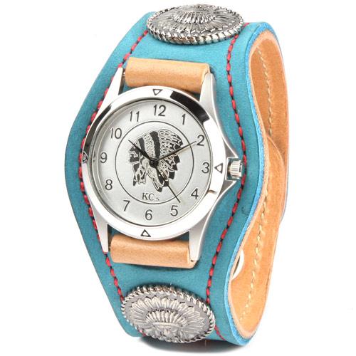 腕時計 メンズ 革 レザー KC,s kcs ケーシーズ ケイシイズ : レザーブレスウォッチ 3コンチョ スタンディング ロック【ターコイズ】 【取寄せ商品入荷後発送】