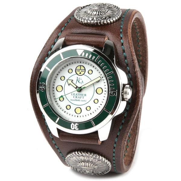 腕時計 メンズ レディース ペア 革 レザー KC,s kcs ケーシーズ ケイシイズ : レザーブレスウォッチ 3コンチョ チーフ【ブラウン】 【取寄せ商品入荷後発送】