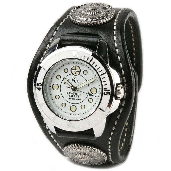 腕時計 メンズ レディース ペア 革 レザー KC,s kcs ケーシーズ ケイシイズ : レザーブレスウォッチ 3コンチョ チーフ【ブラック】 【取寄せ商品入荷後発送】