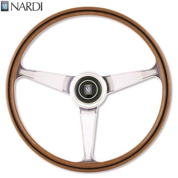 NARDI ナルディ レブリカライン ANNI60 ウッド&ポリッシュスポーク ステアリング 径380mm NARDIホーンボタン付属【お取り寄せ商品】【ハンドル ステアリング】