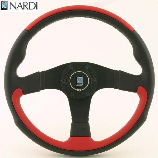 NARDI ナルディ N807 ブラック/レッドレザー&ブラックスポーク ステアリング 径350mm NARDIホーンボタン ホーンリング ビス付属【お取り寄せ商品】【ハンドル ステアリング】