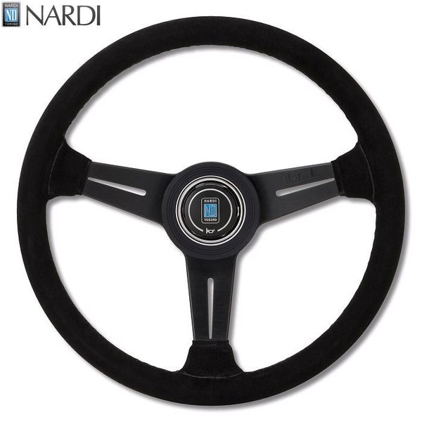 NARDI ナルディ N343 ブラックスエード&ブラックスポーク ブラックステッチ ステアリング 径340mm NARDIホーンボタン ホーンリング付【お取り寄せ商品】【ハンドル ステアリング】