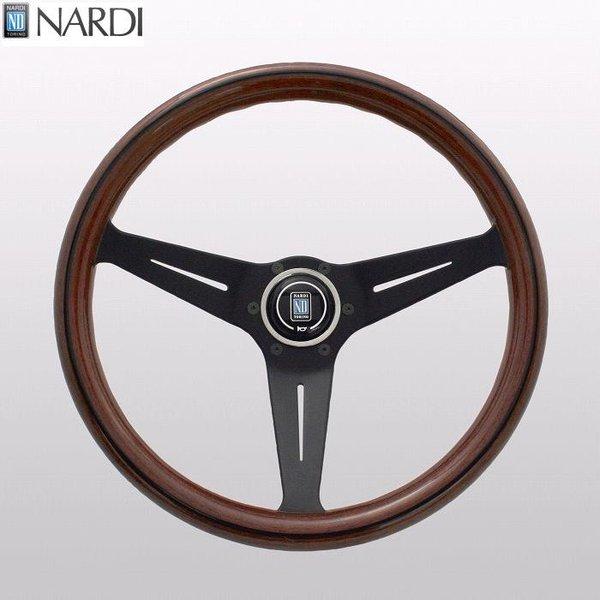NARDI ナルディ N771 ウッド&ブラックスポーク ディープコーン ステアリング 径350mm NARDIホーンボタン付 オフセット80mm【お取り寄せ商品】【ハンドル ステアリング】