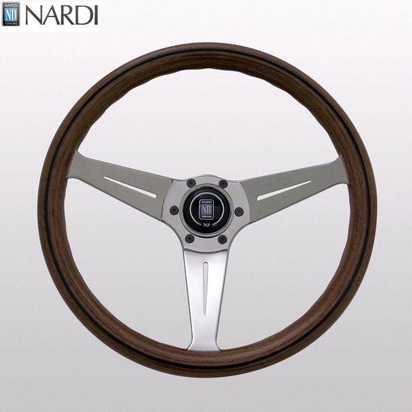 NARDI ナルディ N770 ウッド&ポリッシュスポーク ディープコーン ステアリング 径350mm NARDIホーンボタン付 オフセット80mm【お取り寄せ商品】【ハンドル ステアリング】