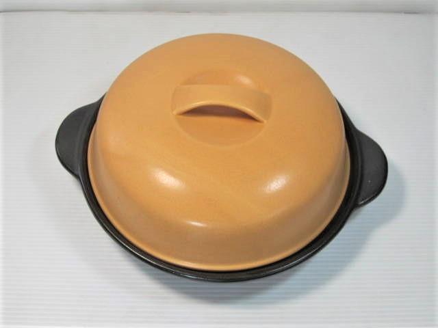あつあつで食べてね 直火OK オレンジのハンバーガー用蓋付陶板 YYT 価格 交渉 送料無料 ご予約品 アウトレット品