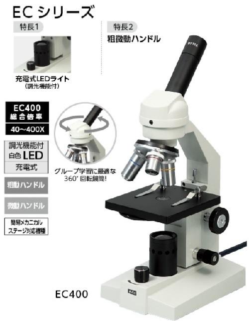 生物顕微鏡 EC400 簡易メカニカルステージ・木箱付 9879アーテック/教材/理科/科学/実験/化学/生物顕微鏡