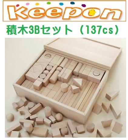木のおもちゃ 積木3Bセット(137cs)だいわ 木製おもちゃ プレゼント/積み木/誕生日/出産祝い/クリスマス/つみき/ラッピング