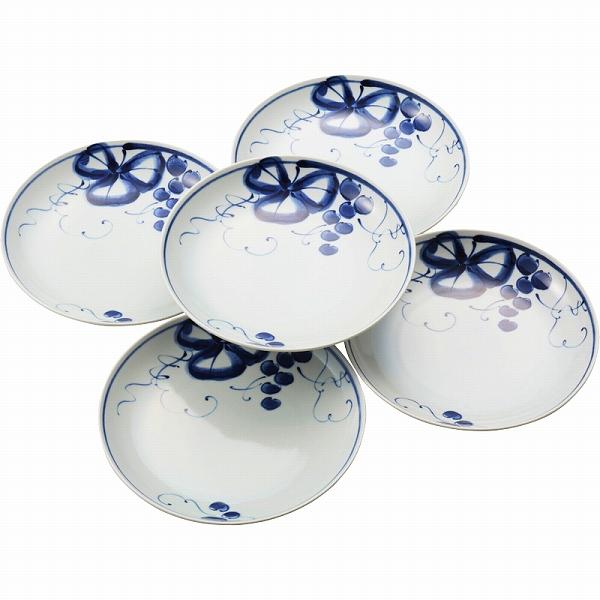 【景品 現物】 有田焼 古染青磁ぶどう絵 和皿大5枚セット 009-478