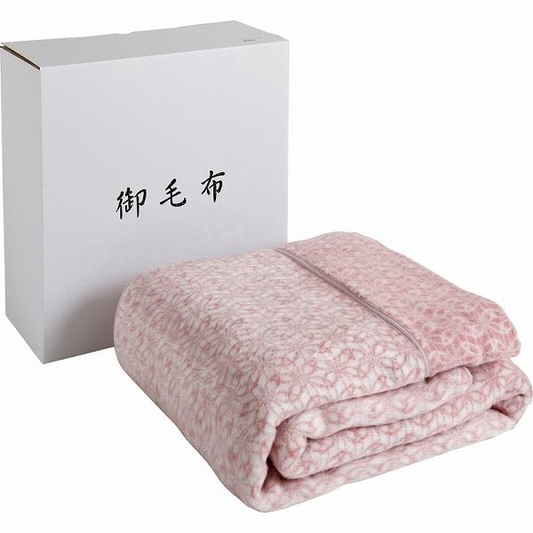 【景品 現物】 和布小紋 アクリル衿付合わせ毛布(毛羽部分)・ポリッシャー加工 ピンク WFK-25100W PI