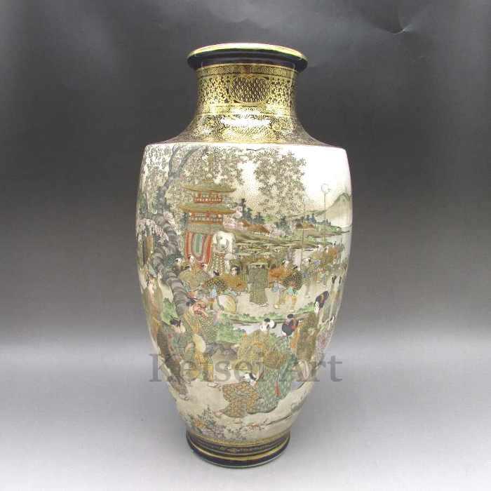 瑠璃地金襴手風景文花瓶 【 送料無料 】