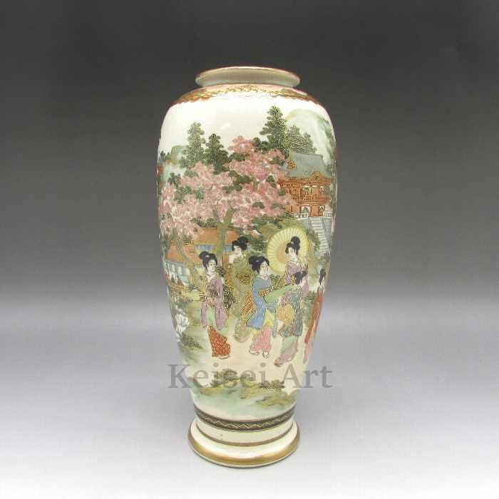 色絵人物寺社風景文花瓶 【 送料無料 】