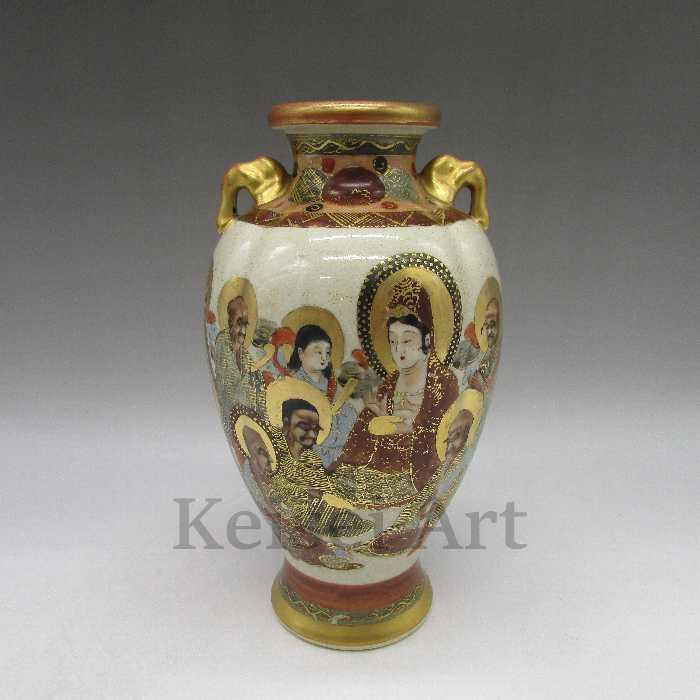 神仏人物文花瓶【 送料無料 】【 オールド薩摩 ( 安井 ) 】【 中古 】