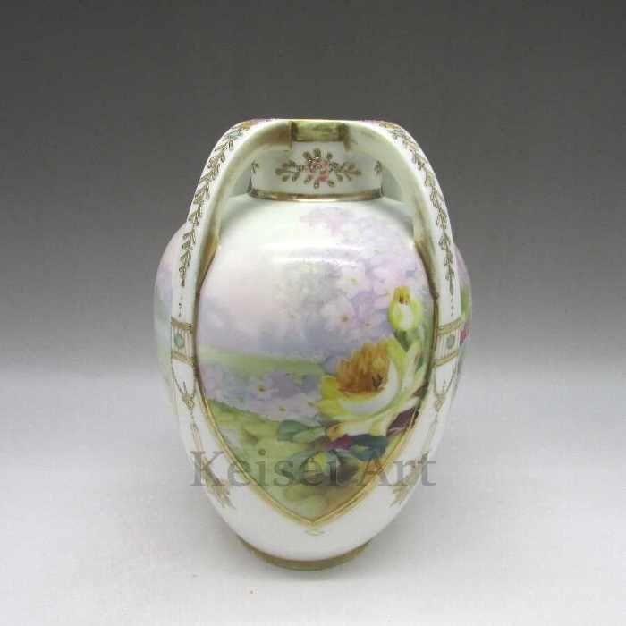 金盛ジュール薔薇文花瓶【 送料無料 】【 オールドノリタケ 】【 中古 】