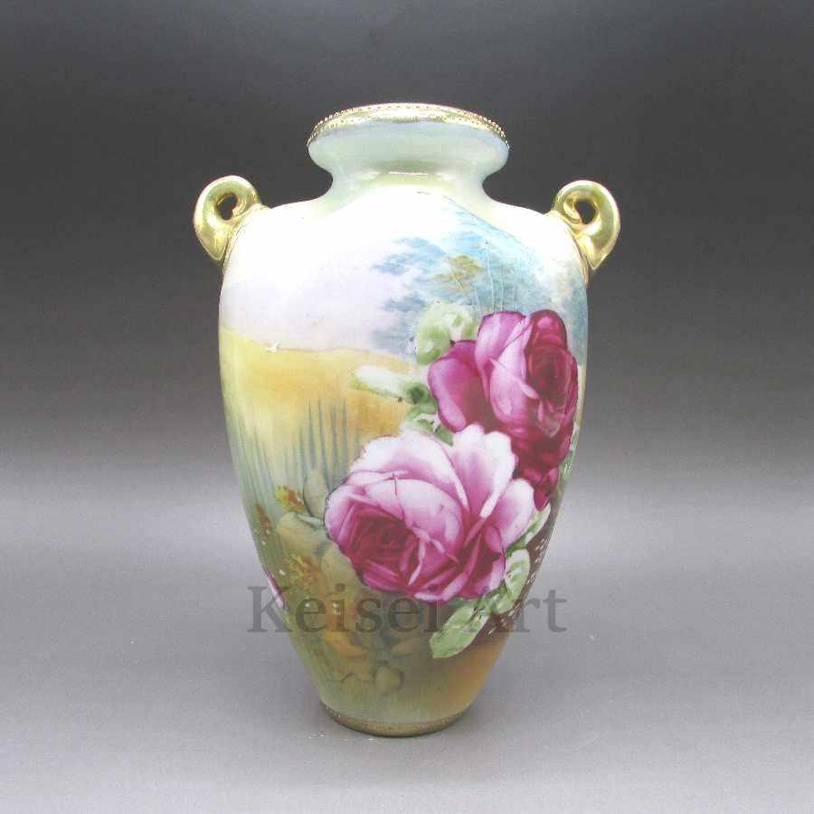オールドノリタケ 薔薇風景文花瓶 中古 送料無料