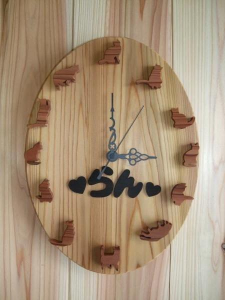 杉 掛け時計 ねこ/CLOCK/木の掛け時計/ねこの掛け時計 /時計 名入れ/木工/木製※送料無料※【smtb-KD】