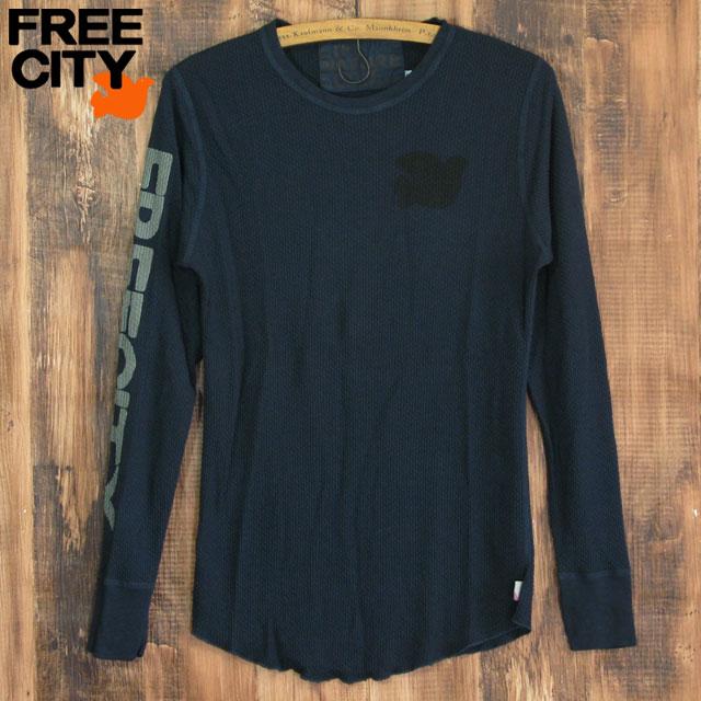 送料無料 FREE CITY フリーシティ サーマル ロングTシャツ thermlwear tops メンズ ネイビー