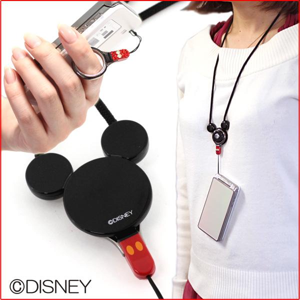 ID card holder ID card lanyard mobile neck strap HandLinker ディズニーキャラクターモバイルネックス strap, Swarovski Crystal using ( Mickey ) fs3gm.
