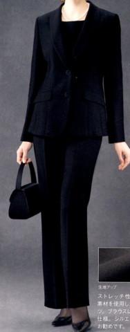 ブラックフォーマル クレール・シャロン ブラウス付きパンツスーツ R5-56122