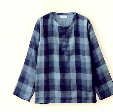 マシュマロガーゼ メンズ Tシャツ ブロックチェック UCHINO ルームウェア