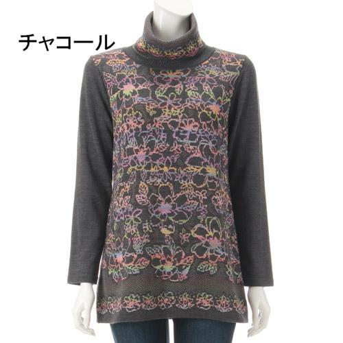 ベルジュルネ 花かすり ジャガード セーター 329-036
