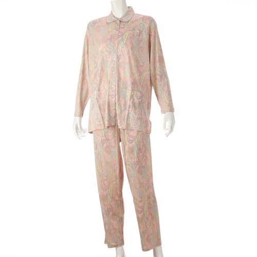 シルク 衿付前開き パジャマ ペイズリー柄 202-101