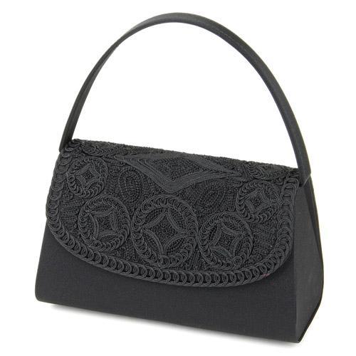 ブラックフォーマルバッグ コード刺繍 593-070