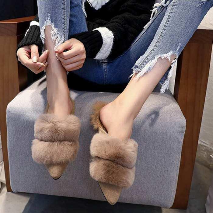 ファー シューズ ファー付き 靴 当店一番人気 フラットシューズ 売買 ファーサンダル ローファーサンダル レディース 履きやすい 冬 即納 ポインテッドトゥ
