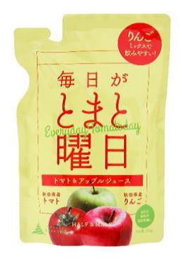 秋田県産 トマト なつのしゅん トマトジュース リンゴ 全国一律送料無料 ミックスジュース 無塩 アップルジュース スーパーセール期間限定 1003455-kf 添加物なし 150g ダイセン創農 毎日がとまと曜日 1~4個はメール便対応可