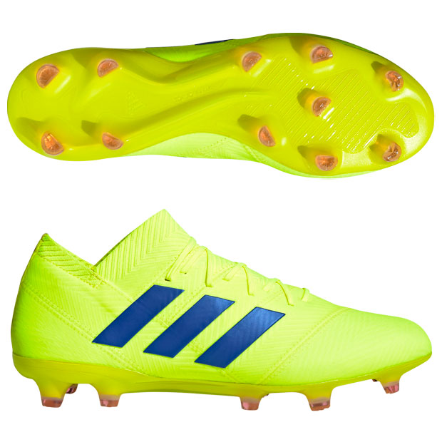 ネメシス 18.1 FG/AG ソーラーイエロー×フットボールブルー 【adidas|アディダス】サッカースパイクbb9426