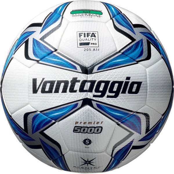 ヴァンタッジオ5000 プレミア 芝用 スノーホワイト×ブルー 【molten|モルテン】サッカーボール5号球f5v5003