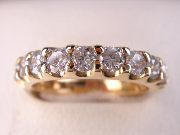 送料無料★18金ダイヤエタニティーリング★1,30ct★ イエローゴールド 婚約指輪 結婚指輪 K18