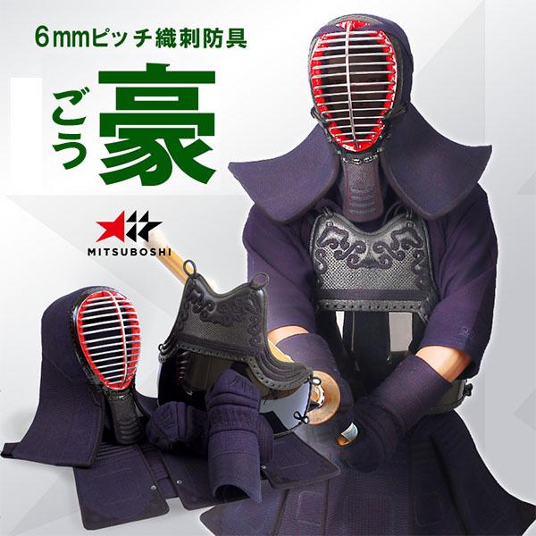 ◆送料無料◆初心者に人気『豪(ごう)』6mmピッチ織刺 剣道防具セット(セーフティガード付)