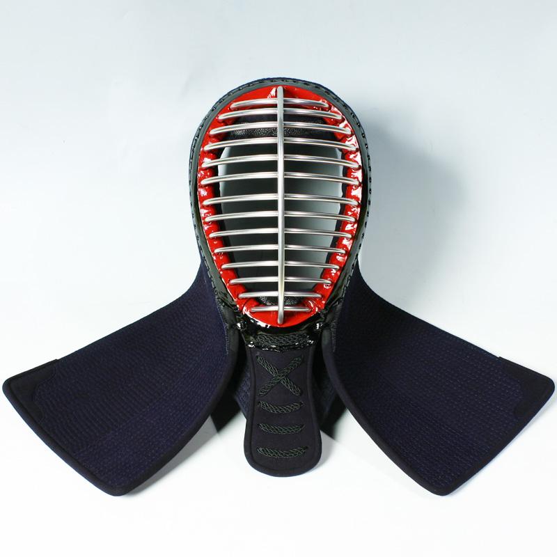 ●在庫処分品・剣道防具面・6ミリピッチ刺し(アゴ3段飾り)[Me]●面紐、面乳革付
