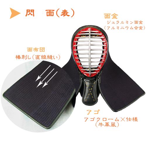 剣道防具 剣道具 6mmミシン刺 面 「閃(せん)」