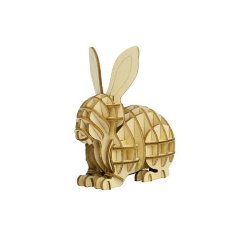新作からSALEアイテム等お得な商品満載 木製パズル ki‐gu‐mi 出荷 ウサギ立体パズル 道具不要 ギフト 動物 木製