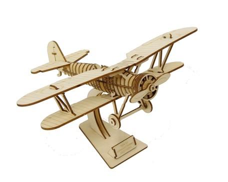 木製パズル ki-gu-mi 複葉機敬老の日 ギフト 立体パズル 飛行機 木製 大規模セール 道具不要 乗り物 優先配送